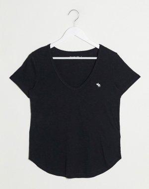 Черная футболка с логотипом и V-образным вырезом -Черный Abercrombie & Fitch