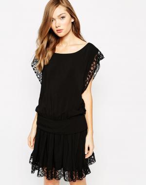 Платье без рукавов с кружевной отделкой Saba Boulee. Цвет: черный