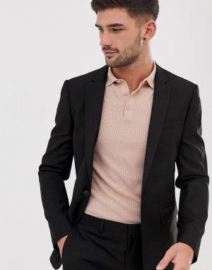 Черный однобортный пиджак зауженного кроя -Черный цвет Topman