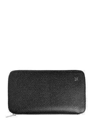 Черное портмоне из зернистой кожи ламы с брендированной фурнитурой ARTIOLI. Цвет: черный