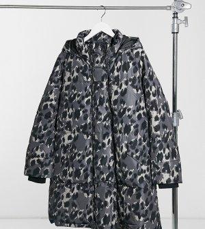 Дутое пальто со съемной вставкой и звериным принтом Mamalicious Maternity & Nursing-Многоцветный Mama.licious