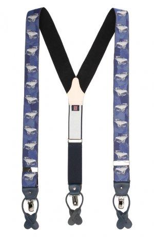 Шелковые подтяжки с кожаной отделкой Albert Thurston. Цвет: синий