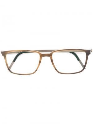 Очки в квадратной оправе Lindberg. Цвет: коричневый
