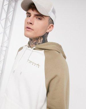 Кремовый oversized-худи с контрастными бежевыми рукавами реглан и вышивкой на груди -Белый ASOS DESIGN
