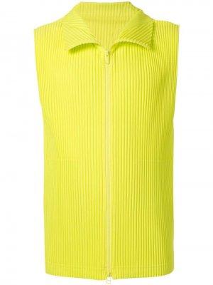 Флисовый жилет со складками Homme Plissé Issey Miyake. Цвет: желтый
