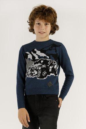 Джемпер для мальчика Finn-Flare. Цвет: синий меланж