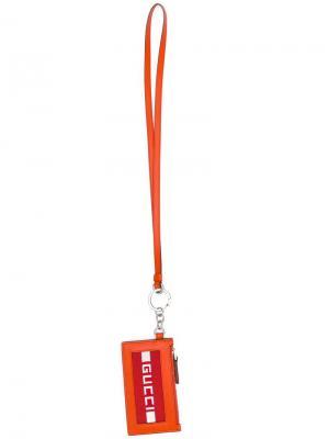 Визитница с логотипом Gucci. Цвет: оранжевый