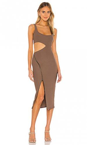 Платье миди meadow ALIX NYC. Цвет: коричневый