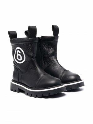 Ботинки с логотипом MM6 KIDS. Цвет: черный