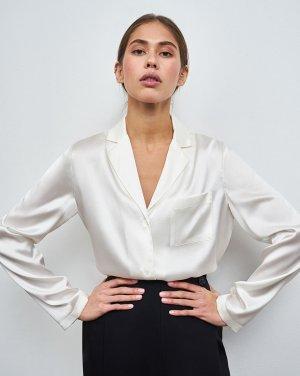Блуза на пуговицах из шёлка 12STOREEZ. Цвет: молочный