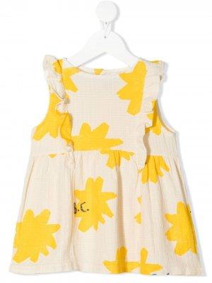 Расклешенное платье с цветочным принтом Bobo Choses. Цвет: нейтральные цвета