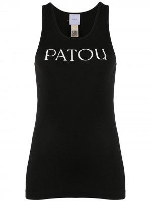 Топ без рукавов с U-образным вырезом и логотипом Patou. Цвет: черный