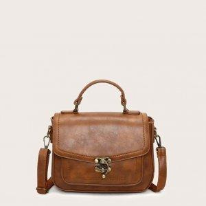 Сумка-портфель с металлическим замком SHEIN. Цвет: коричневые