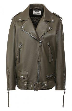 Кожаная куртка с поясом Acne Studios. Цвет: хаки
