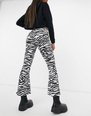 Расклешенные брюки с завышенной талией и принтом «зебра» -Многоцветный Another Reason