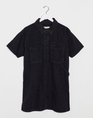 Черное джинсовое свободное платье-рубашка -Черный ASOS DESIGN