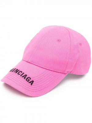 Бейсболка с вышитым логотипом Balenciaga. Цвет: розовый