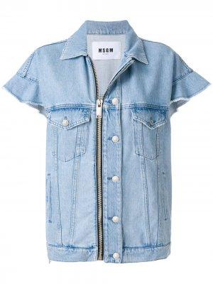 Джинсовая куртка с короткими рукавами MSGM. Цвет: синий