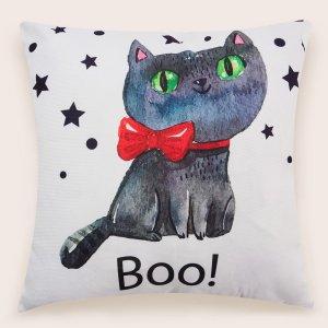 Чехол для подушки без наполнителя с принтом кошки SHEIN. Цвет: многоцветный