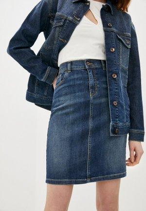 Юбка джинсовая Emporio Armani. Цвет: синий