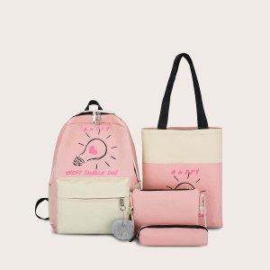 Рюкзак с принтом и пеналом для девочек 4шт SHEIN. Цвет: розовые