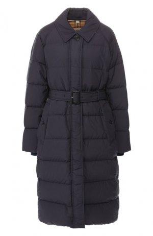 Пуховое пальто Burberry. Цвет: темно-синий