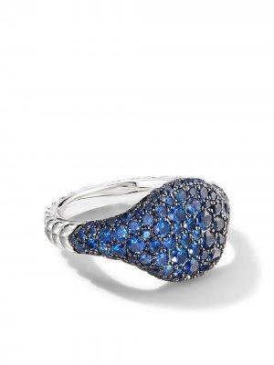 Золотое кольцо Chevron Pavé с сапфирами David Yurman. Цвет: серебристый