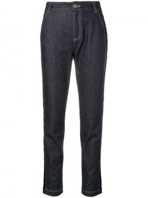 Зауженные джинсы с монограммами Fendi. Цвет: синий