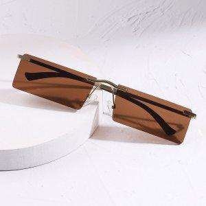Мужской Солнцезащитные очки без оправы квадратный SHEIN. Цвет: коричневые