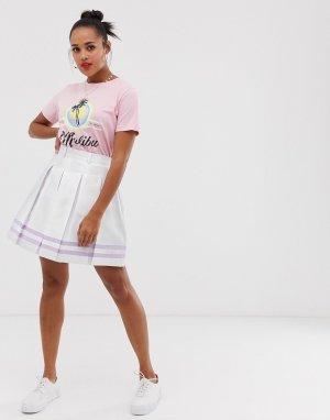 Теннисная мини-юбка с полосками -Белый Daisy Street
