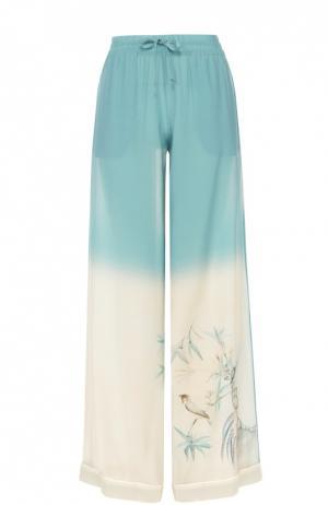 Шелковые брюки в пижамном стиле с эластичным поясом Valentino. Цвет: светло-голубой
