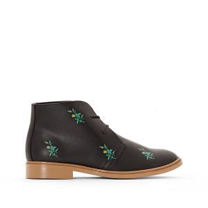 Ботинки-дезерты на шнуровке с цветочным рисунком La Redoute Collections. Цвет: черный