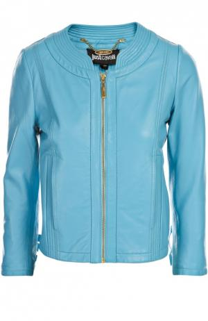 Куртка кожаная Just Cavalli. Цвет: голубой