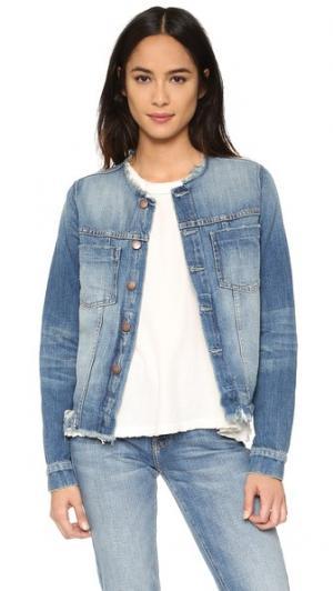 Обрезанная классическая джинсовая куртка Current/Elliott. Цвет: прилив, эффект поношенности