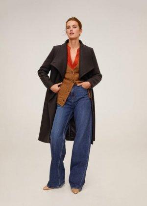 Пальто с большими лацканами, шерстью - Venus6 Mango. Цвет: шоколадный