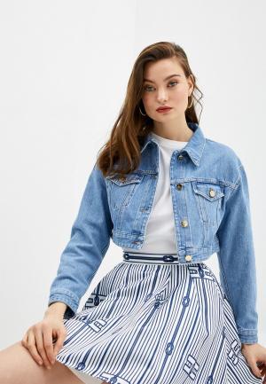 Куртка джинсовая Elisabetta Franchi. Цвет: голубой
