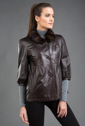 Коричневая кожаная осенняя куртка на меховой подстежке O'MERINOS. Цвет: коричневый