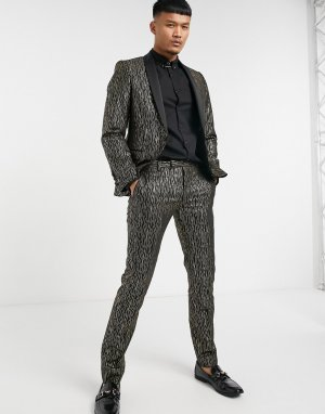 Черно-золотистый пиджак с атласными лацканами наклонной формы -Черный Twisted Tailor