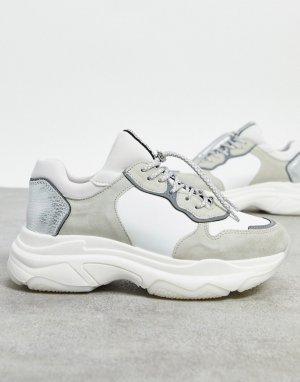 Белые кожаные кроссовки на массивной подошве BRONX-Белый Bronx