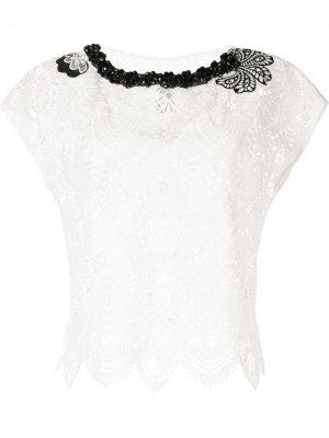 Кружевная декорированная блузка Antonio Marras. Цвет: белый