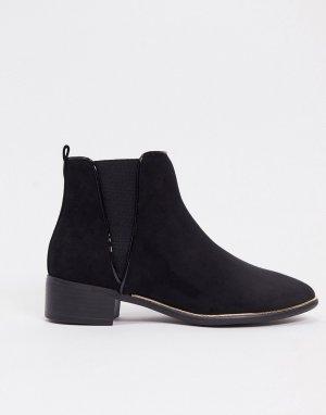 Черные ботинки челси из искусственной замши -Черный Lipsy