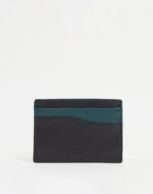 Кожаный кошелек для пластиковых карт -Черный цвет Silver Street