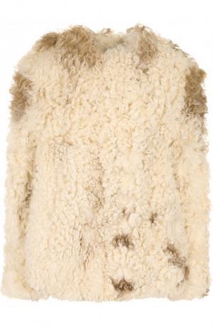 Укороченная шуба из овечьего меха Saint Laurent. Цвет: белый