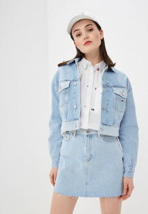 Куртка джинсовая Tommy Jeans TO052EWDQPI0. Цвет: голубой