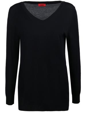 Шерстяной пуловер HUGO BOSS. Цвет: черный