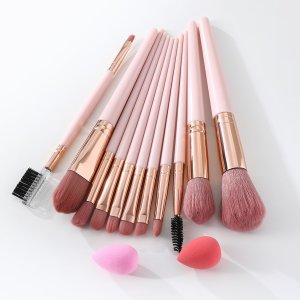 11шт Набор кистей для макияжа & 2шт Спонж SHEIN. Цвет: нежний розовый