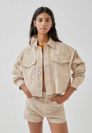 Куртка джинсовая Pull&Bear Join Life. Цвет: бежевый