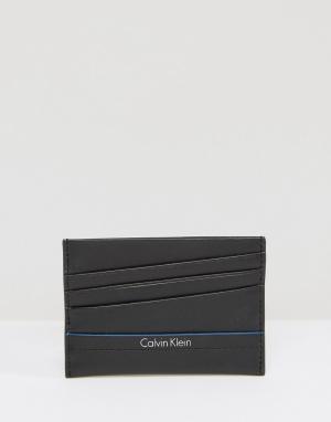 Кожаная визитница Calvin Klein. Цвет: черный