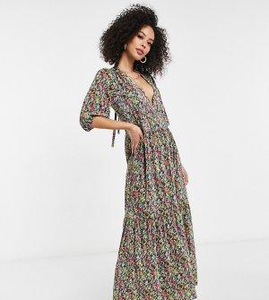 Плиссированное платье макси с V-образным вырезом, ярусной юбкой, длинными рукавами и ярким цветочным принтом ASOS DESIGN Tall-Голубой Tall