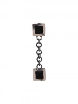 Square charm earring Guidi. Цвет: серебристый